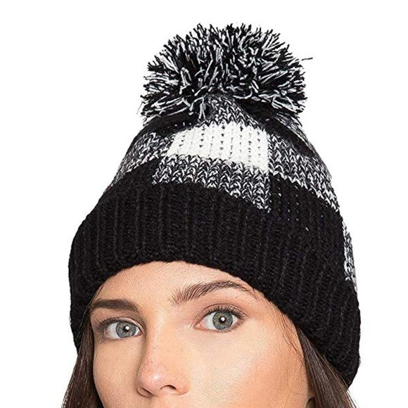 1a9d5aa9cd8 Ribbed Knit Plaid Checkered Pom Pom Beanie Hat OS